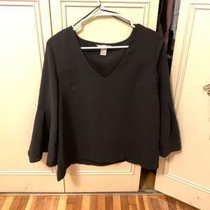 Black, bell sleeve H&M blouse